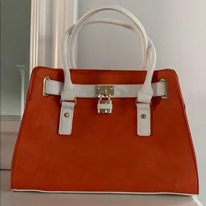 Handbags - TEXTURED LOCK DETAILED SATCHEL